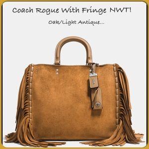 🔥Coach Rogue With Fringe Oak/Light Antique Nickel